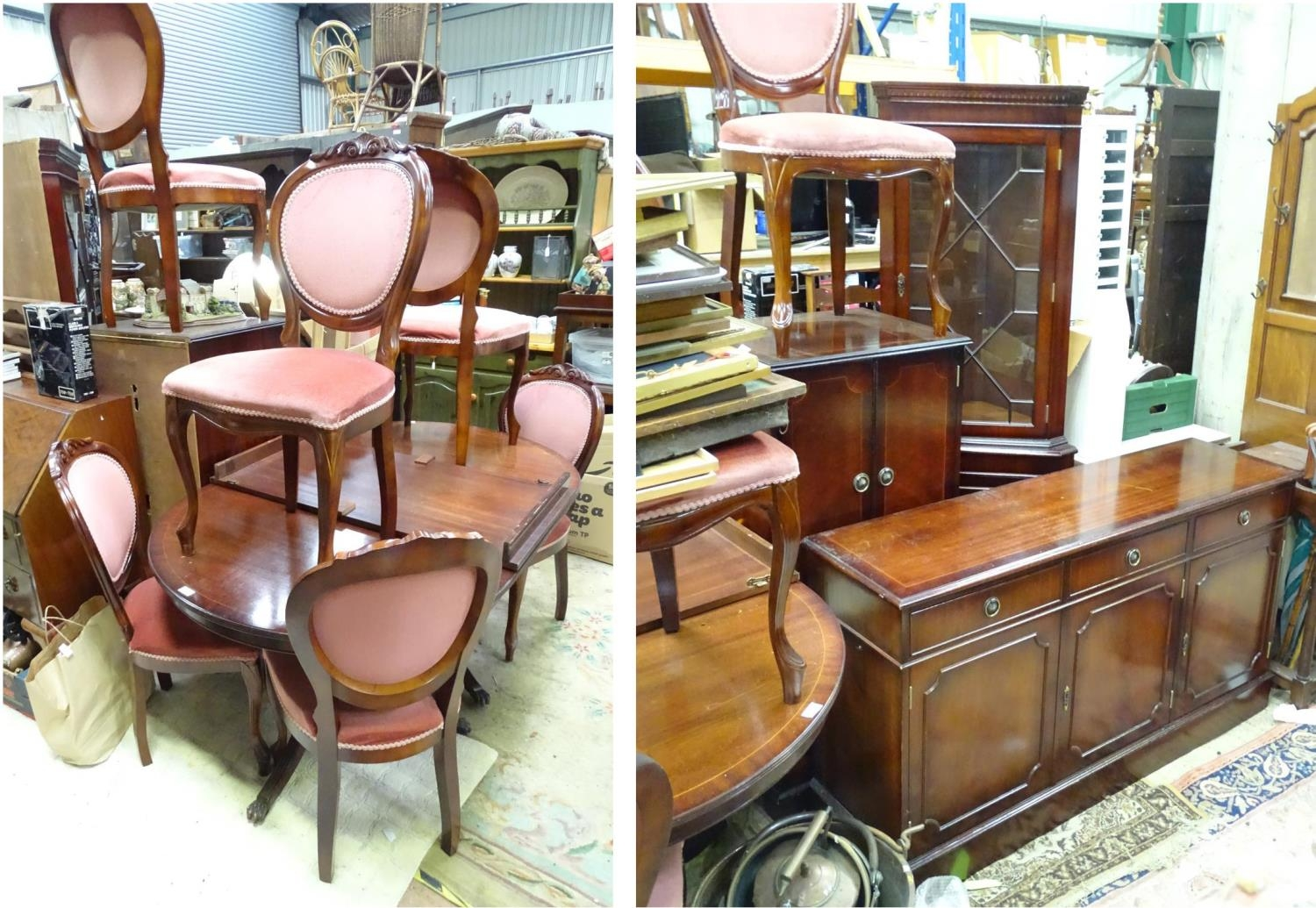 A late 20thC mahogany dining suite comprising table, 6 chairs, sideboard, drinks cabinet and