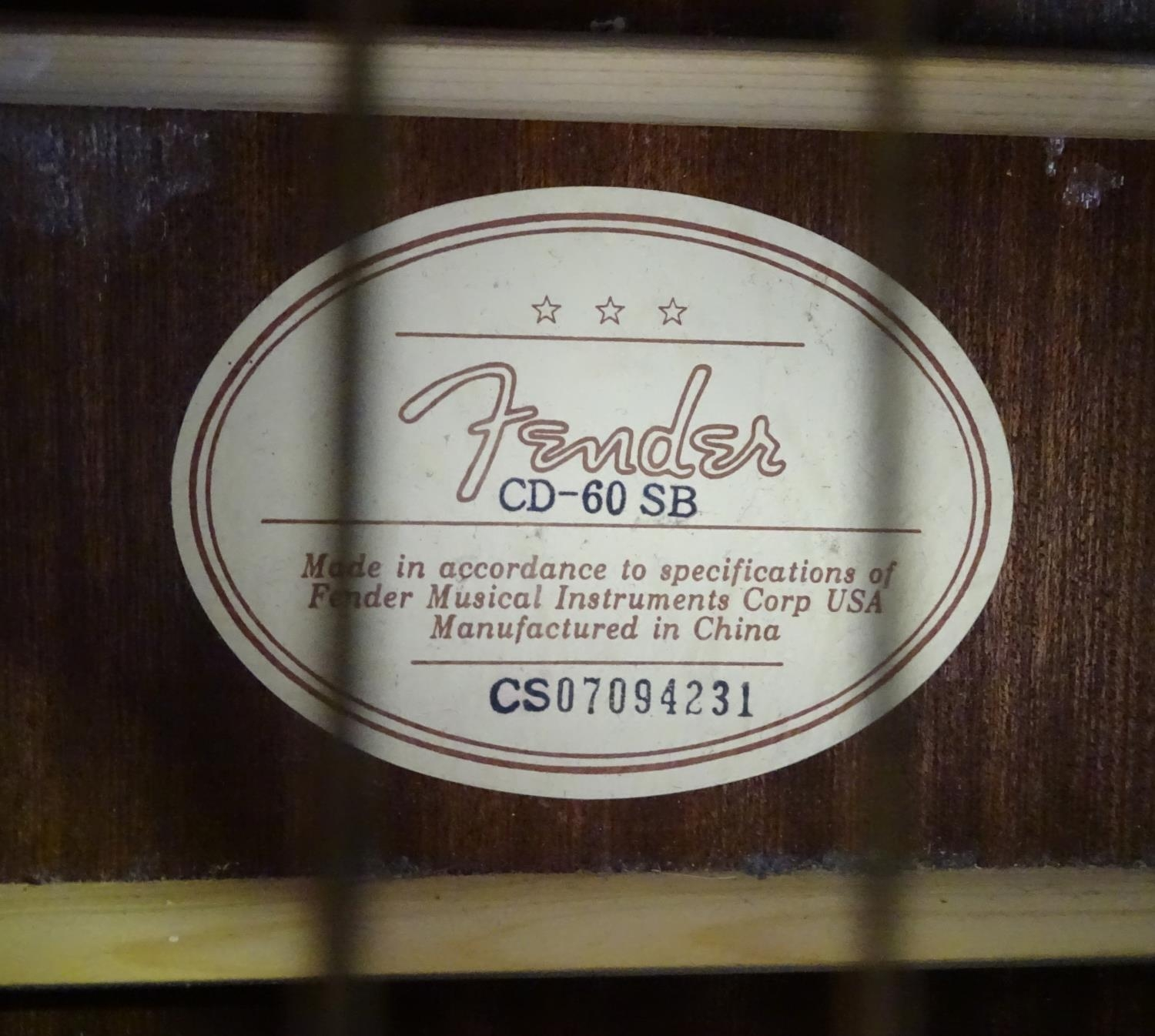A Fender CD-60 SB acoustic guitar Please Note - we do not make reference to the condition of lots - Image 4 of 5