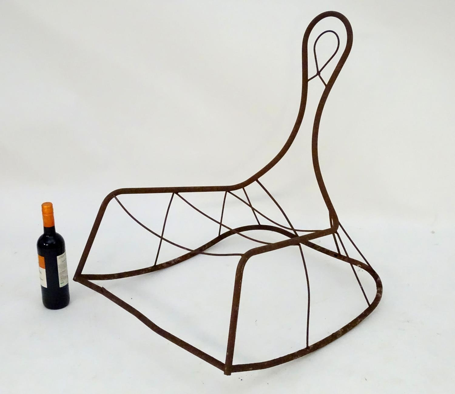 Garden & Architectural, Salvage: a mid-20thC metal rocking chair frame, suitable for use as a - Image 6 of 6