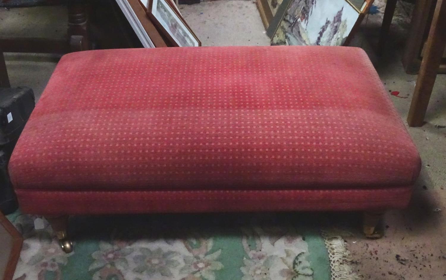 A large upholstered footstool on castors Please Note - we do not make reference to the condition - Image 2 of 6