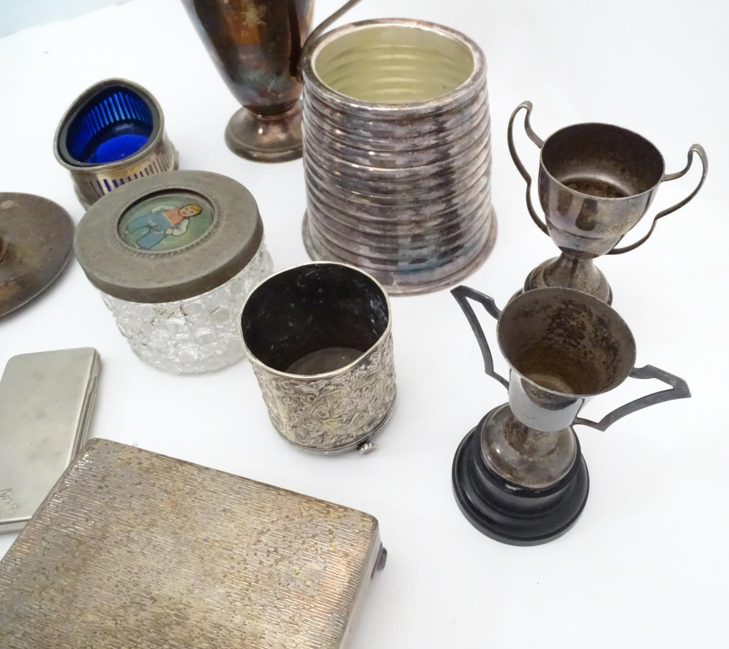 A quantity of silver plated items to include cutlery, cigarette box, trophy, coffee pot, candle - Image 6 of 6
