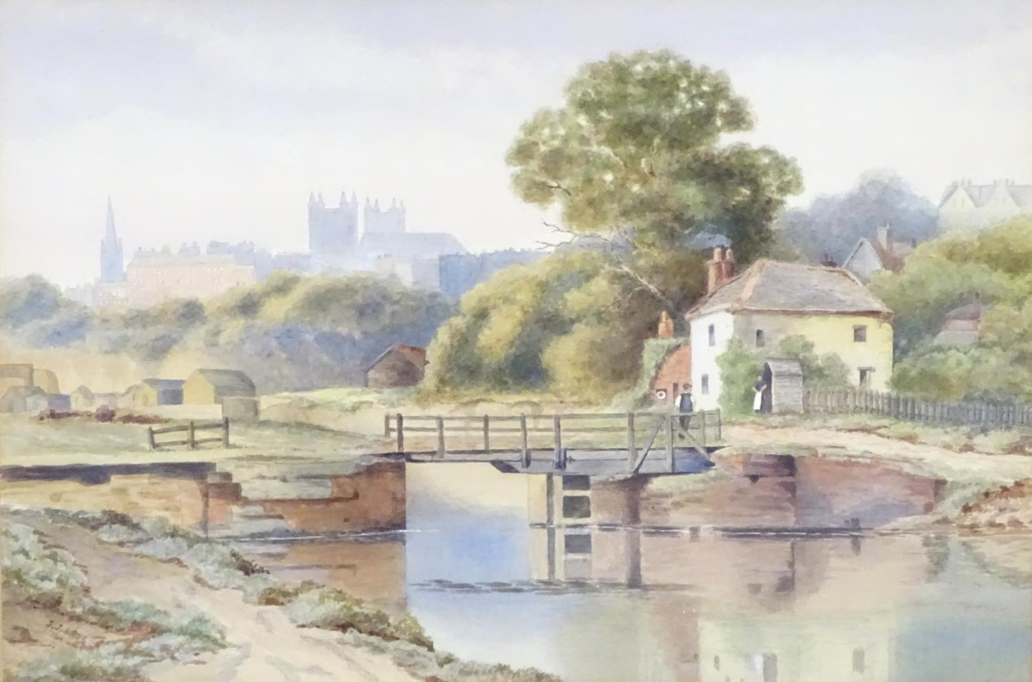 J. J. Bibby, Early 20thC, English School, Watercolour, Exeter from the Canal. Signed and dated - Image 3 of 6