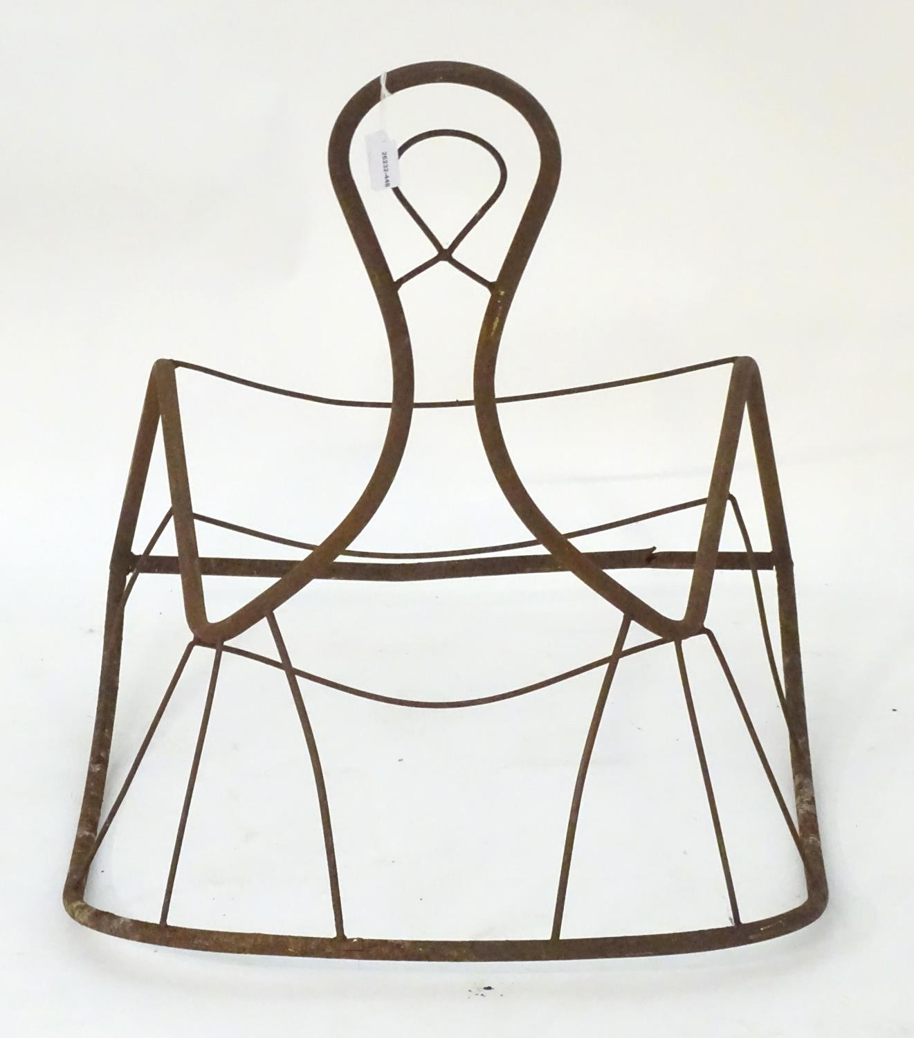 Garden & Architectural, Salvage: a mid-20thC metal rocking chair frame, suitable for use as a - Image 3 of 6