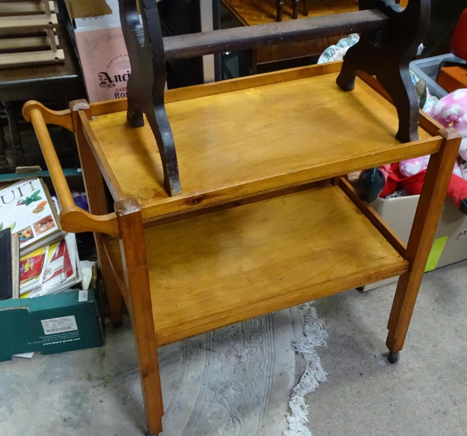 An Arts & Crafts dining chair, together with a stool, and a trolley (3) Please Note - we do not make - Image 5 of 5