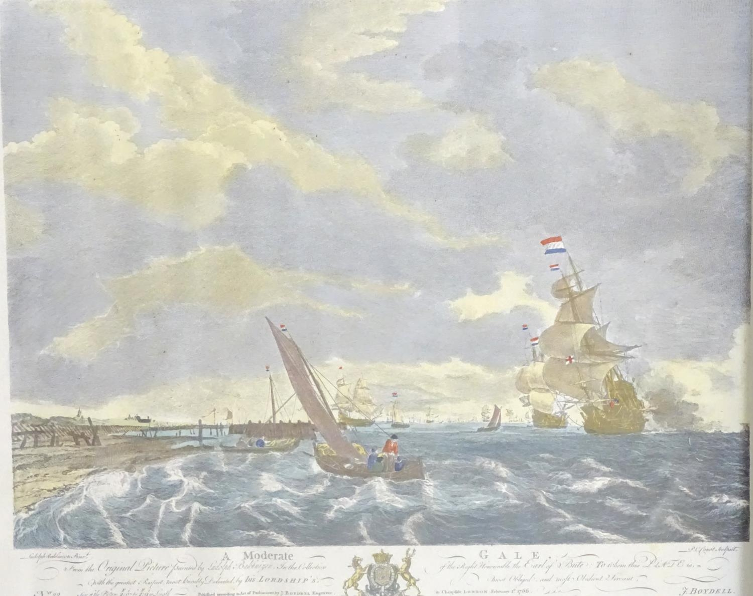 P. C. Canot, after Willem van de Velde, Two hand coloured engravings, A Brisk Gale, depicting a - Image 4 of 8