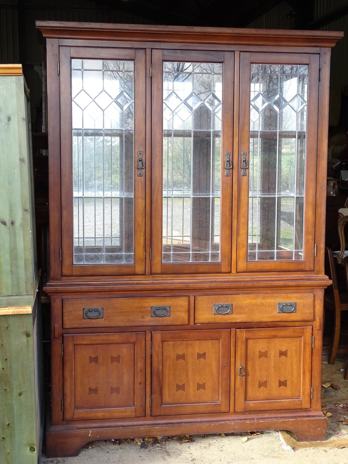 """A large 20thC glazed and mirrored display cabinet. Approx. 83"""" tall Please Note - we do not make - Image 4 of 7"""