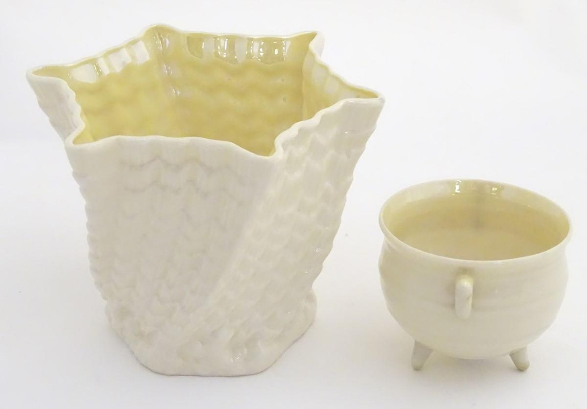 Two Belleek Ireland pottery wares, comprising a twisted lustre shell vase / flower pot with a - Image 3 of 9