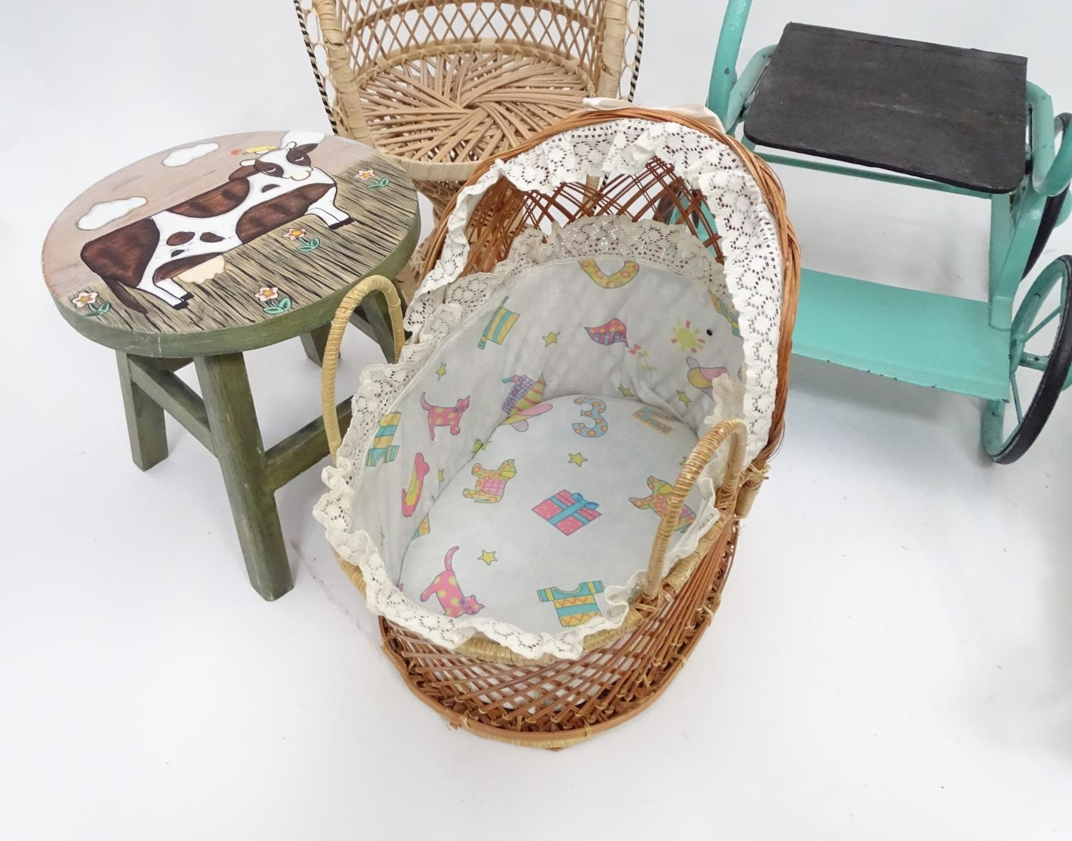 A quantity of dolls items to include a pram, smalls chairs, stool, etc. Please Note - we do not make - Image 7 of 11