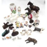 A box of assorted items to include ceramic animals figures, a chemist bottle, small proportion /