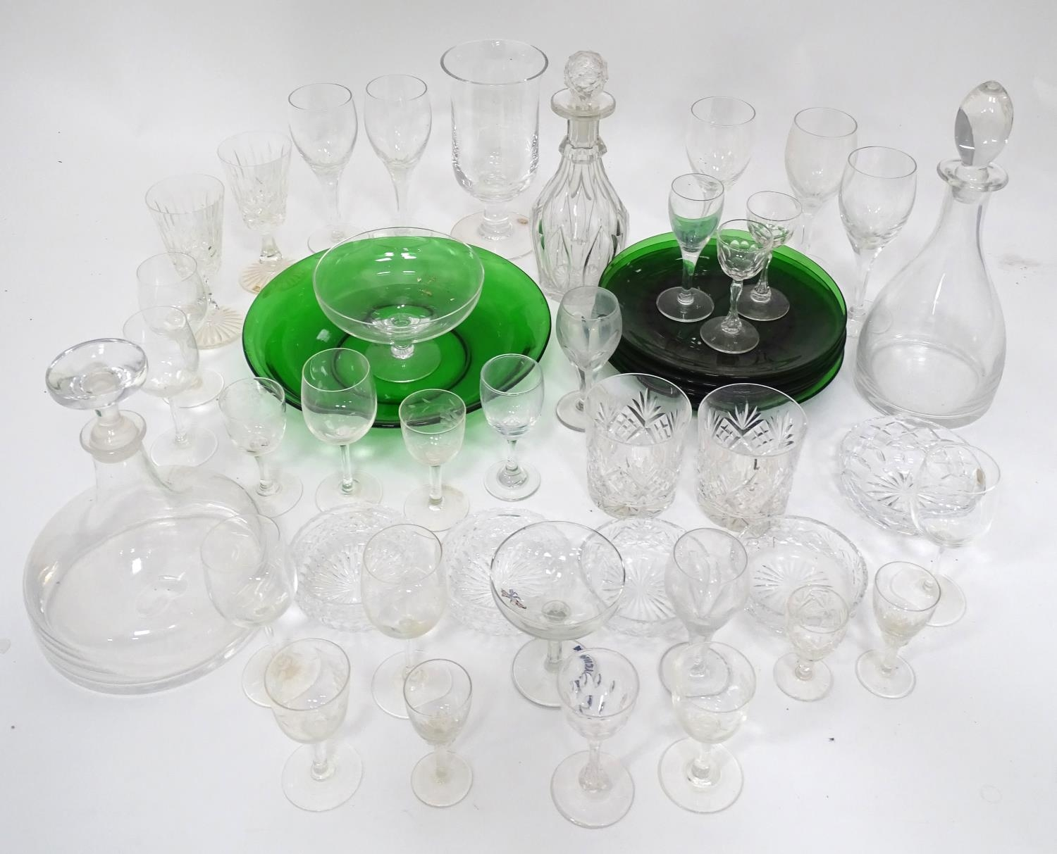 A quantity of assorted glassware to include decanters, drinking glasses, bowls etc Please Note - - Image 2 of 8