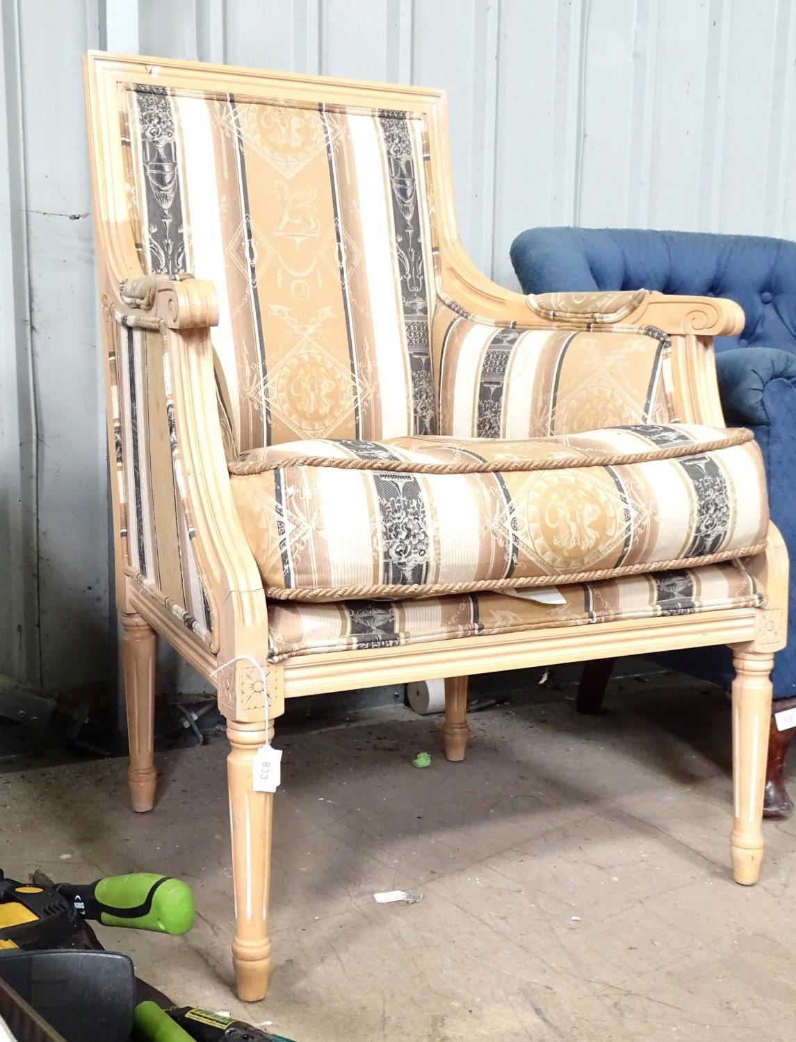 A late 20thC fauteuil style armchair Please Note - we do not make reference to the condition of lots