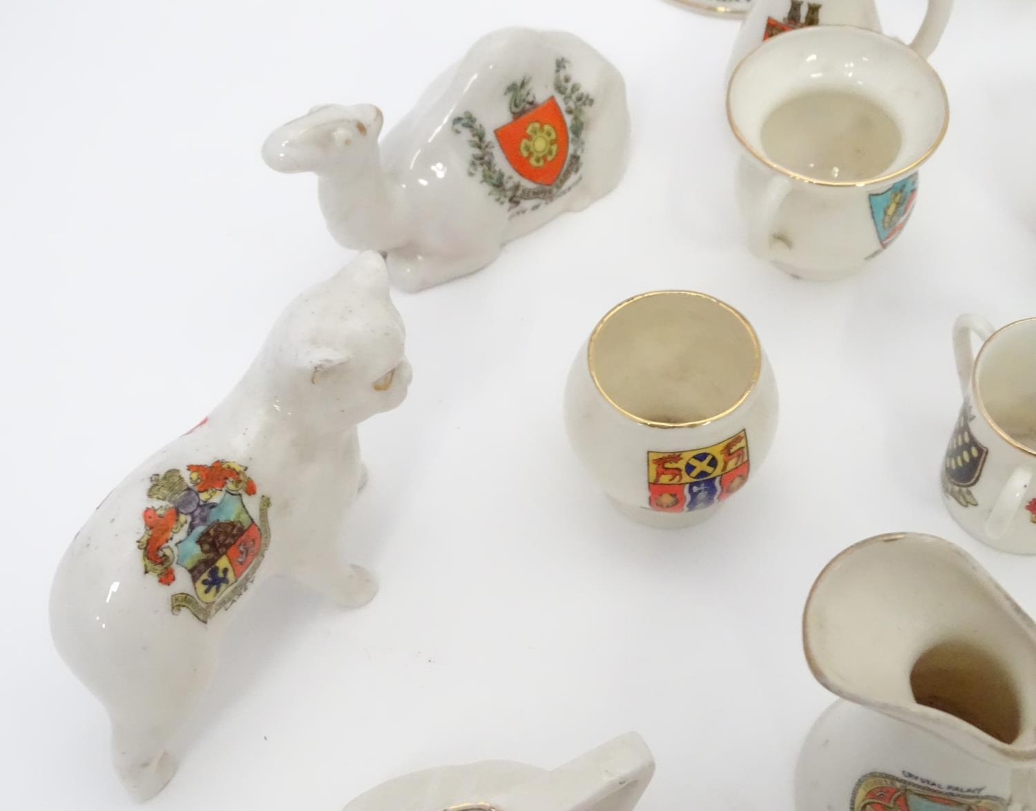 A quantity of Crested Ware to include Leicester camel, Blackpool rabbit, Lowestoft frog, etc. Please - Image 10 of 21