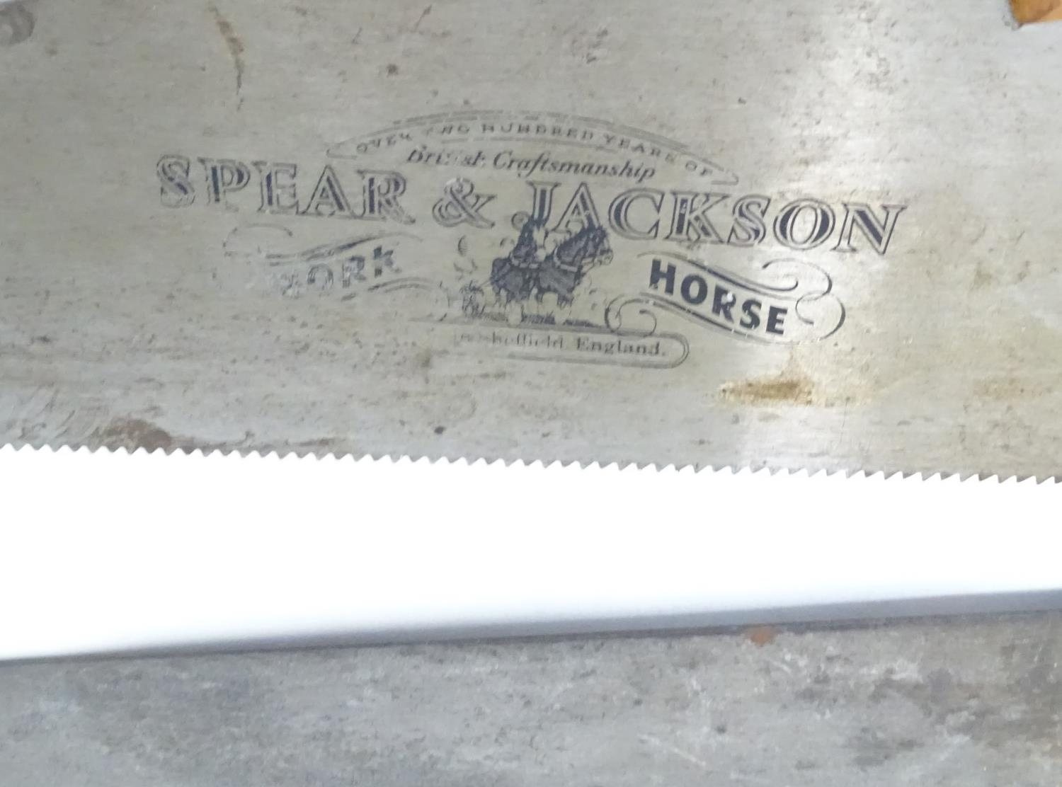 A pair of Spear and Jackson saws one with hand painted decoration ' The Man Cave ', the other with ' - Image 4 of 4