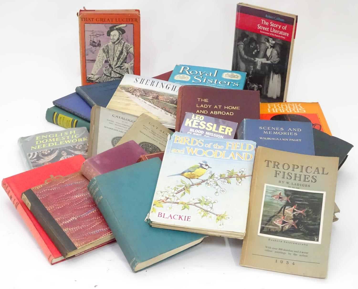 A box of assorted book to include Birds of the Field and Woodland by Blackie, Tropical Fishes by