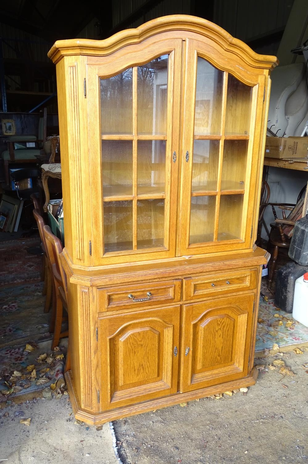 """A 20thC oak glazed dresser / cupboard. Approx. 75"""" tall Please Note - we do not make reference to"""