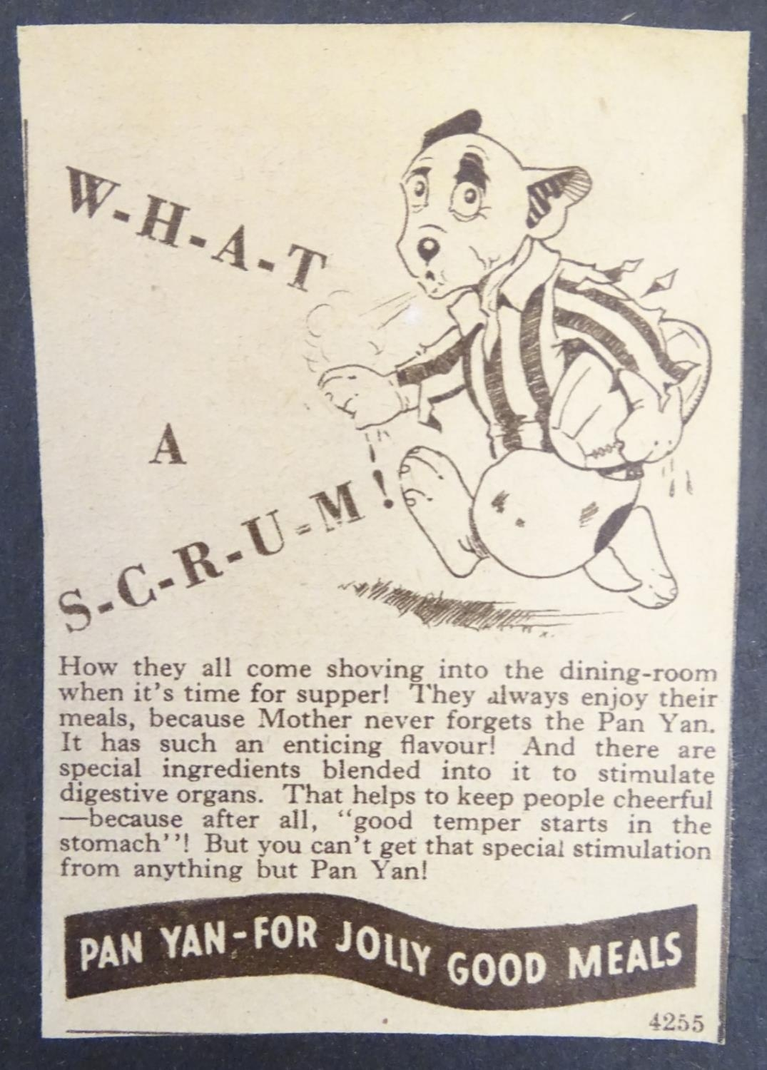 A 20thC newspaper advertisement for Pan Yan Pickle featuring Bonzo the dog designed by the British - Image 4 of 7