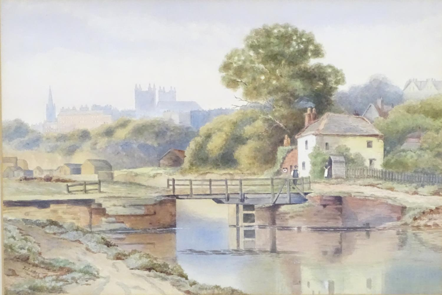 J. J. Bibby, Early 20thC, English School, Watercolour, Exeter from the Canal. Signed and dated - Image 4 of 6