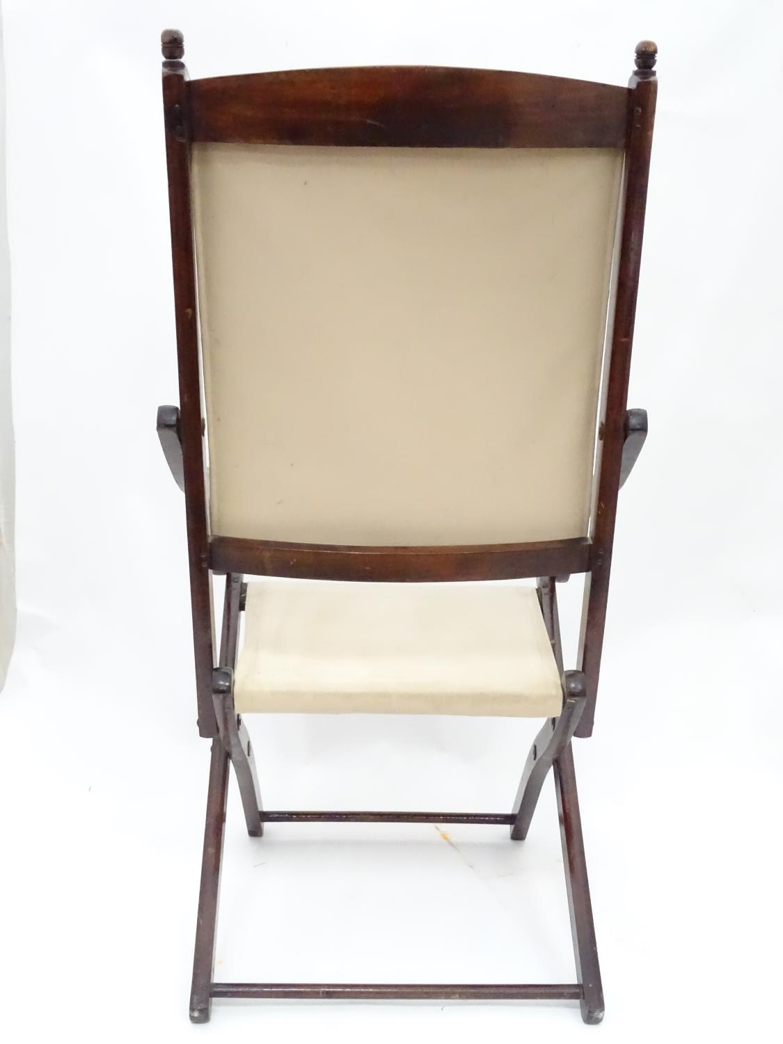 """A folding campaign / deck chair. Approx. 41"""" tall Please Note - we do not make reference to the - Image 3 of 5"""
