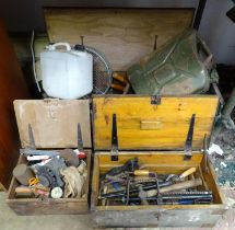 A large quantity of tools within wooden chests Please Note - we do not make reference to the