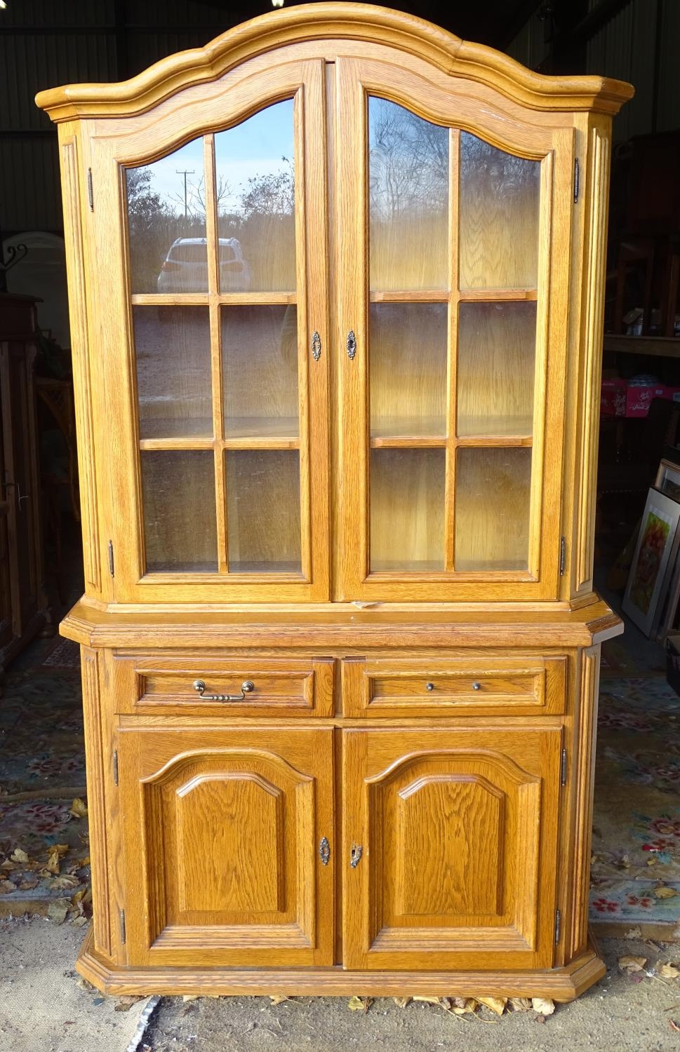 """A 20thC oak glazed dresser / cupboard. Approx. 75"""" tall Please Note - we do not make reference to - Image 3 of 5"""