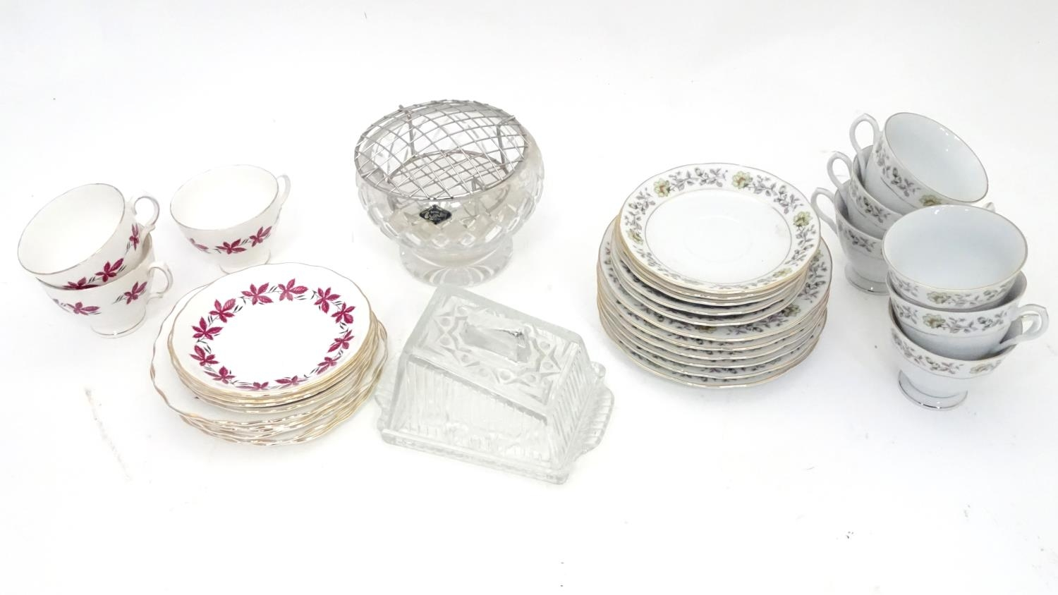A quantity of assorted ceramics and glass to Colclough cups and saucer, Royal Brierley crystal
