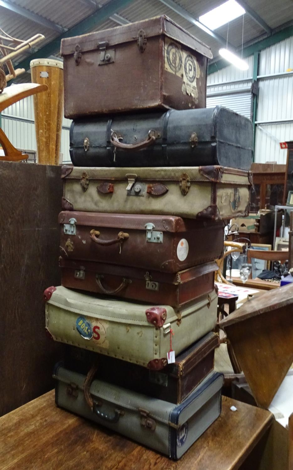 Eight vintage trunks / suitcases with old tourist labels (8) Please Note - we do not make - Image 3 of 3