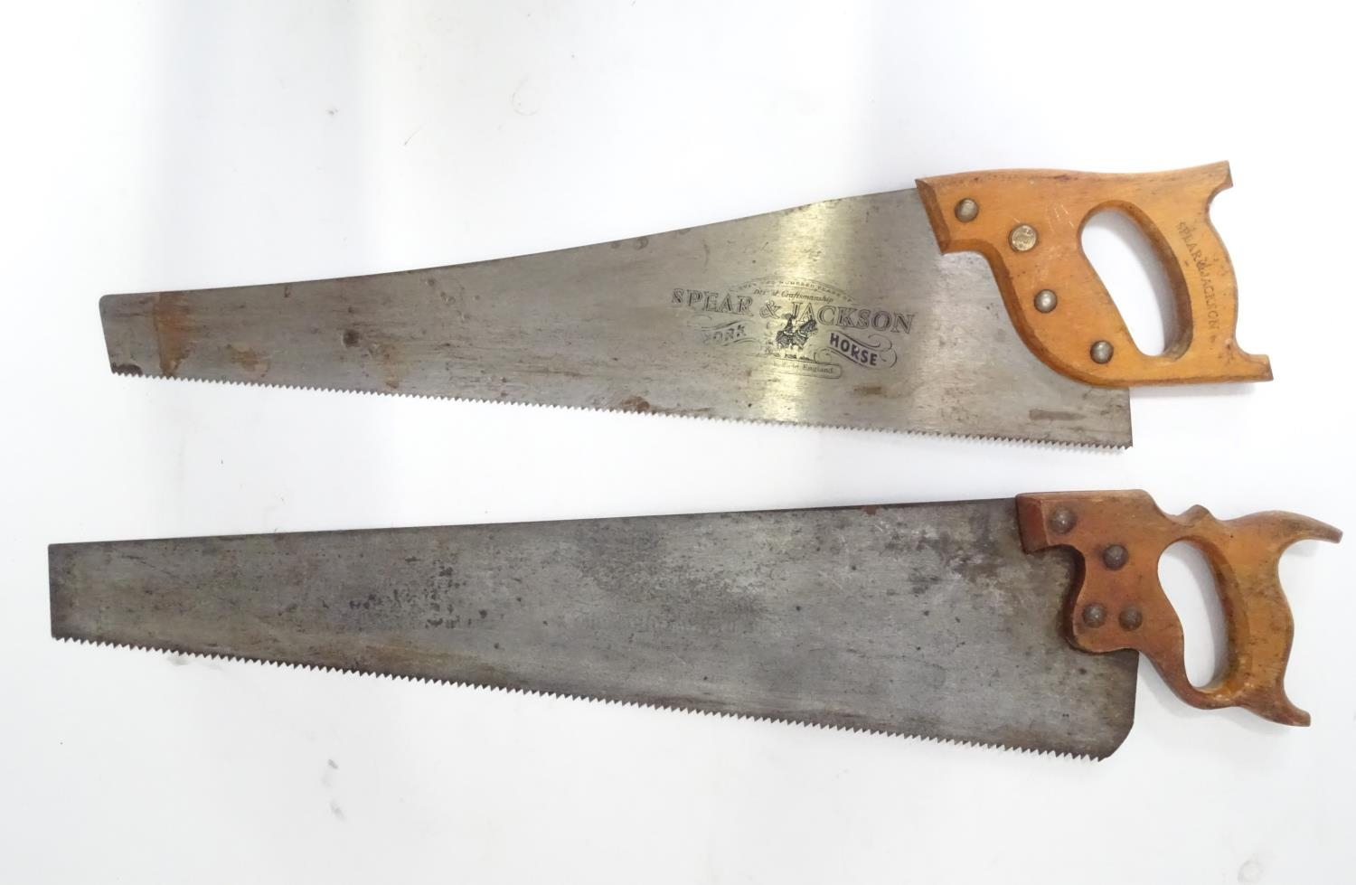 A pair of Spear and Jackson saws one with hand painted decoration ' The Man Cave ', the other with ' - Image 3 of 4