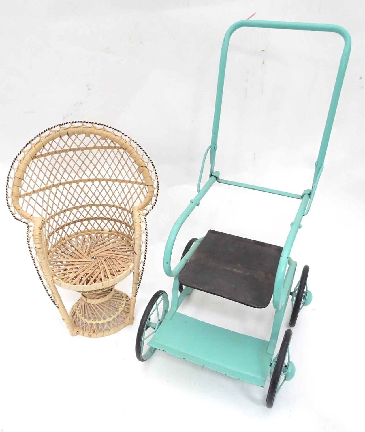 A quantity of dolls items to include a pram, smalls chairs, stool, etc. Please Note - we do not make - Image 9 of 11