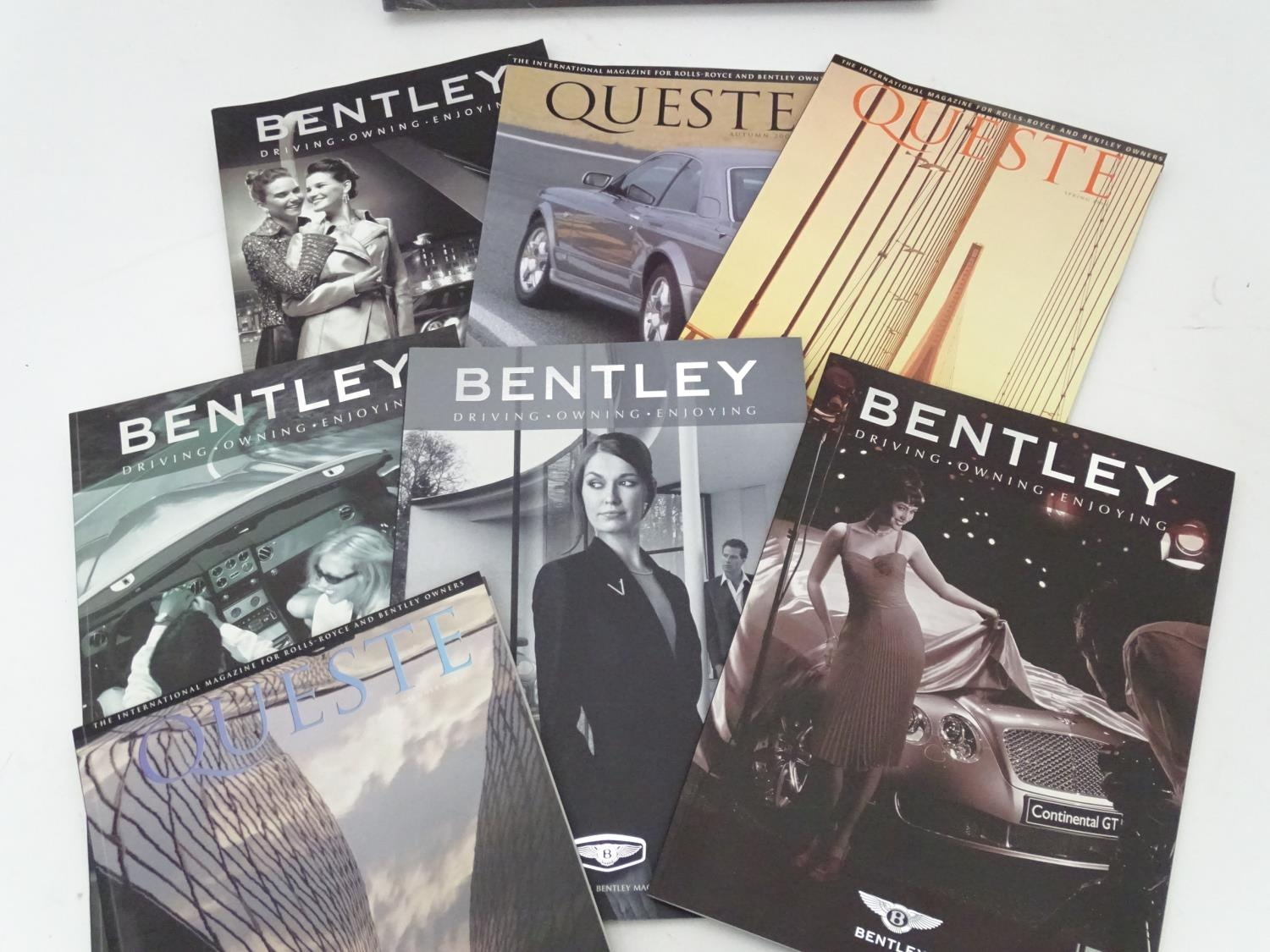 A leather folder embossed with the Bentley car logo. Together with some Bentley magazines and a book - Image 5 of 6