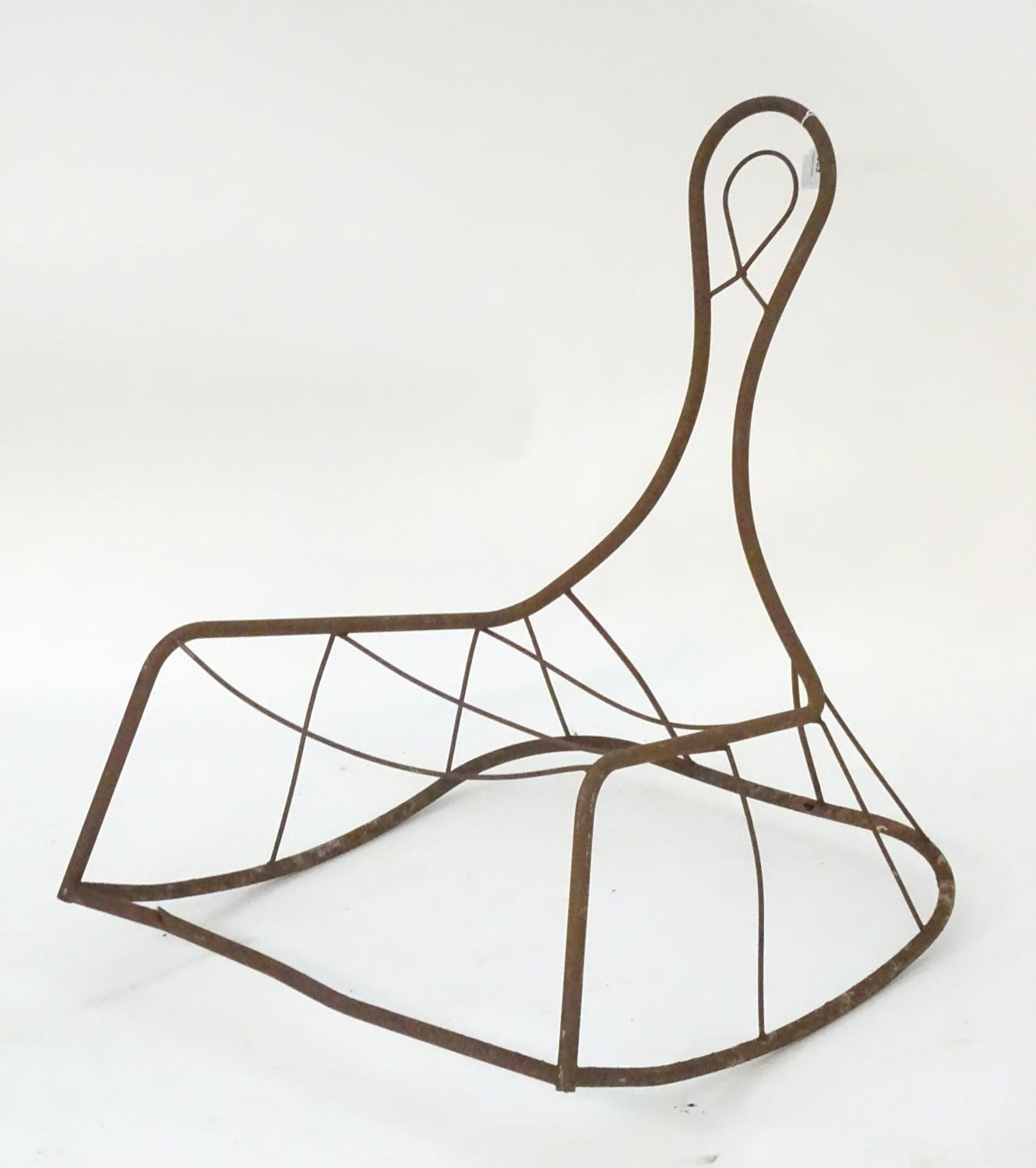 Garden & Architectural, Salvage: a mid-20thC metal rocking chair frame, suitable for use as a - Image 4 of 6