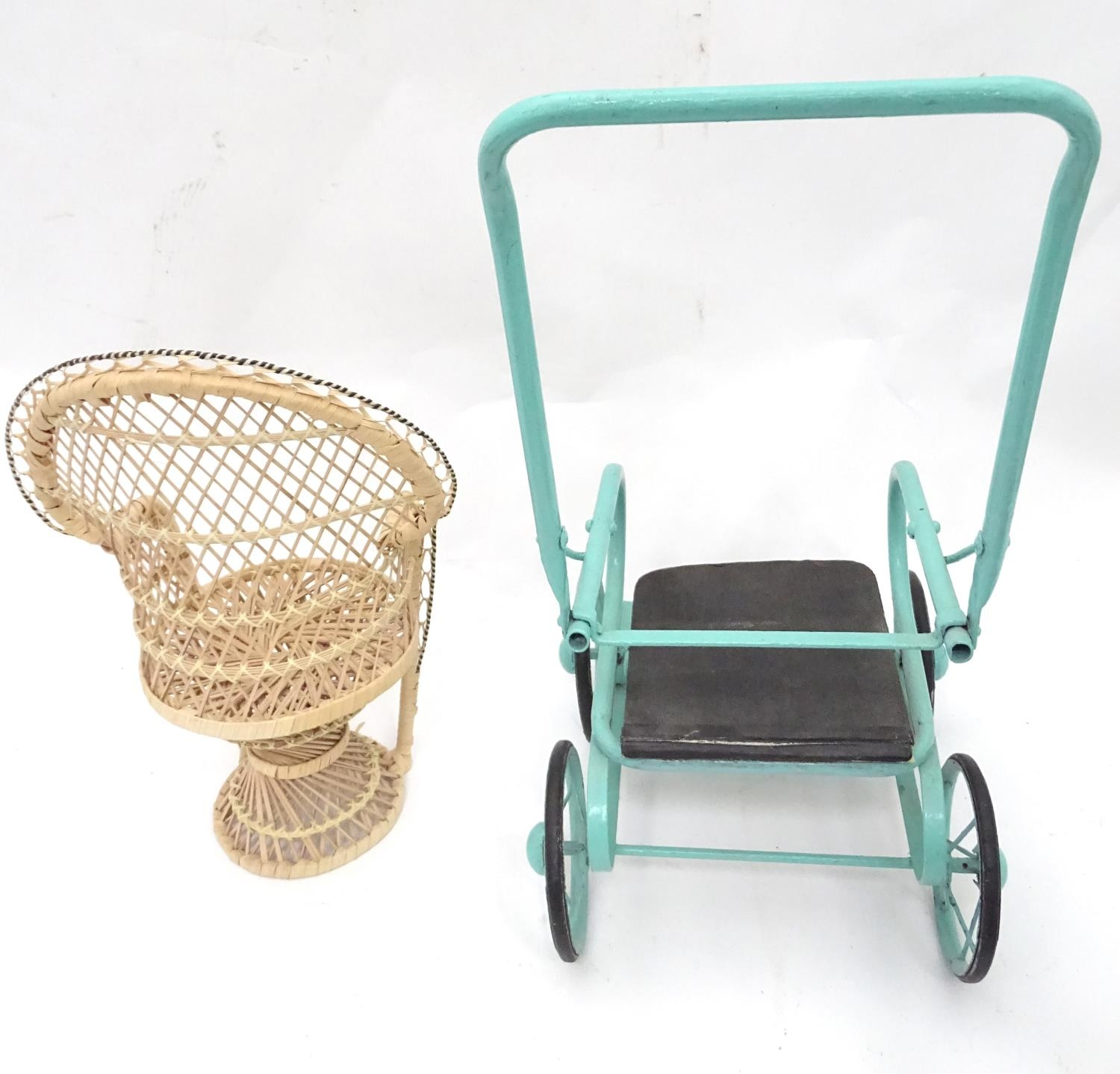 A quantity of dolls items to include a pram, smalls chairs, stool, etc. Please Note - we do not make - Image 11 of 11