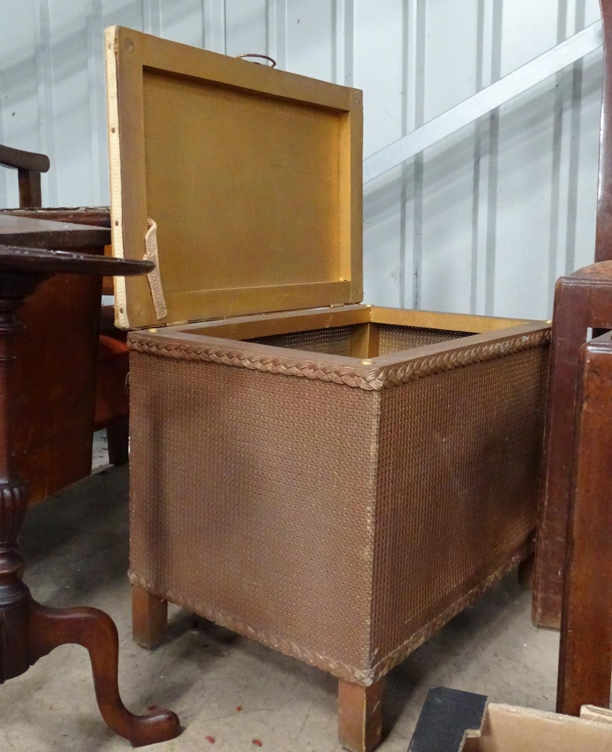 A quantity of furniture to include a piano stool, small step ladder, linen basket, etc. Please - Image 4 of 4