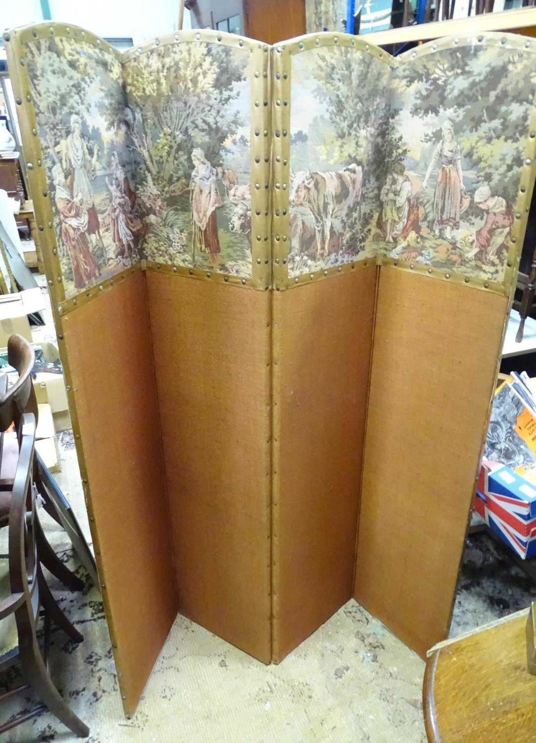 """A four fold 20thC dressing screen / room divider with tapestry decoration. Approx. 65 3/4"""" tall - Image 3 of 6"""