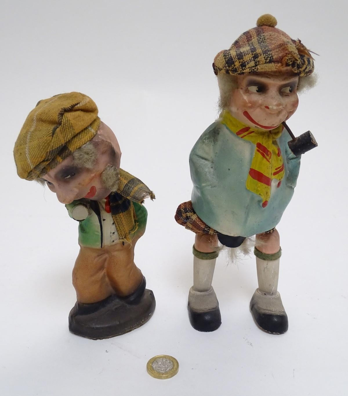 Toys: Two unusual novelty humorous Scottish figures made of pressed card. A wind up toy modelled - Image 6 of 9