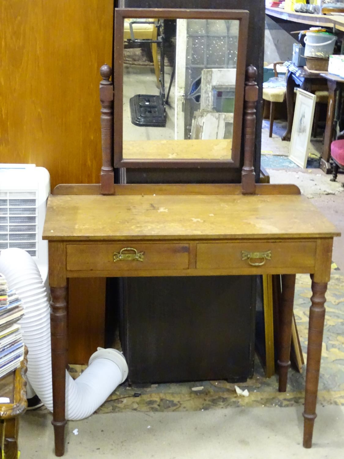"""A late 19th / early 20thC mahogany dressing table with two drawers and a mirror. Approx. 56"""" tall. - Image 3 of 7"""