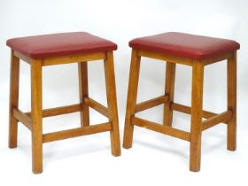 A pair of vintage retro vinyl topped stools Please Note - we do not make reference to the