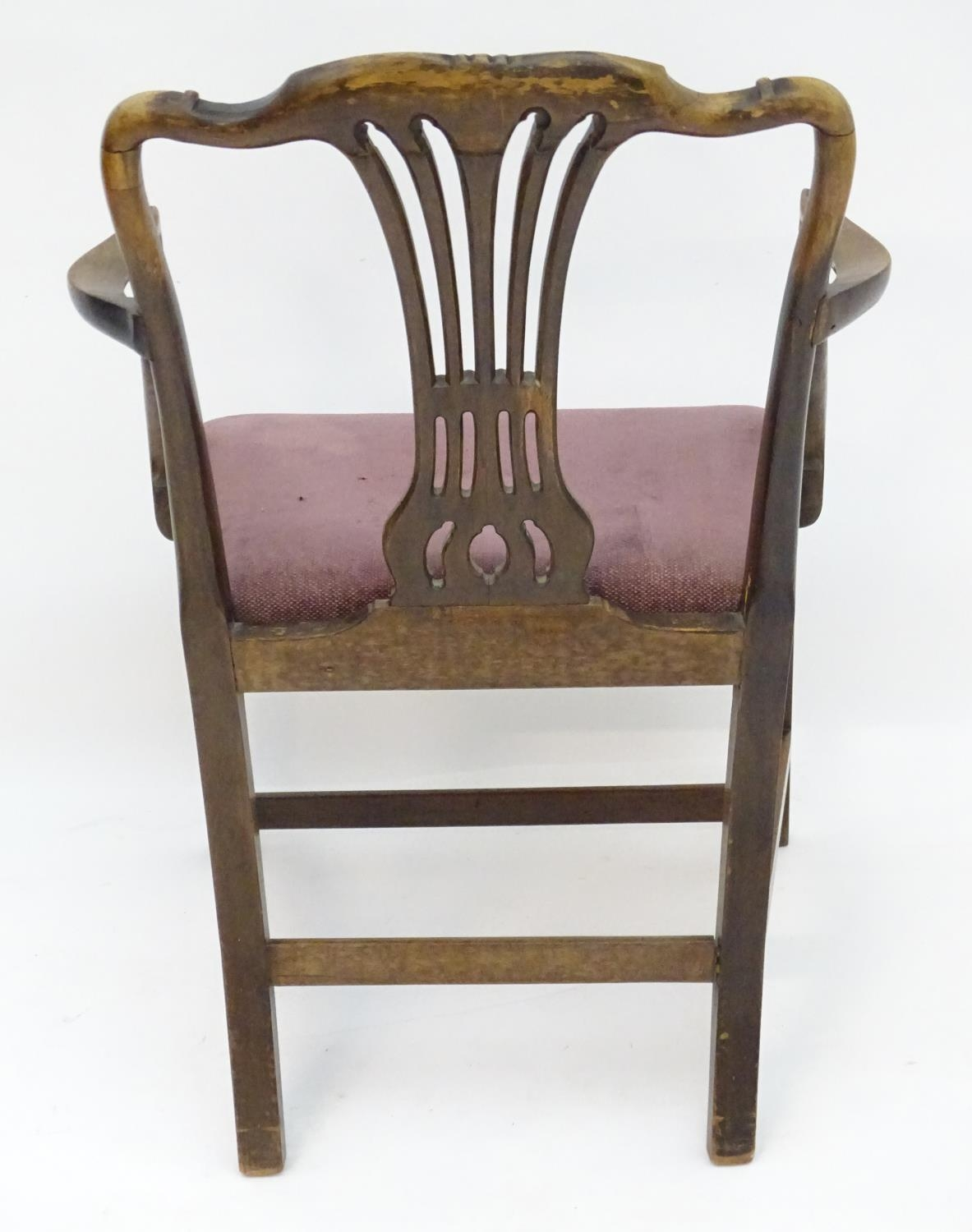 A 19thC mahogany carver chair with upholstered seat Please Note - we do not make reference to the - Image 2 of 6