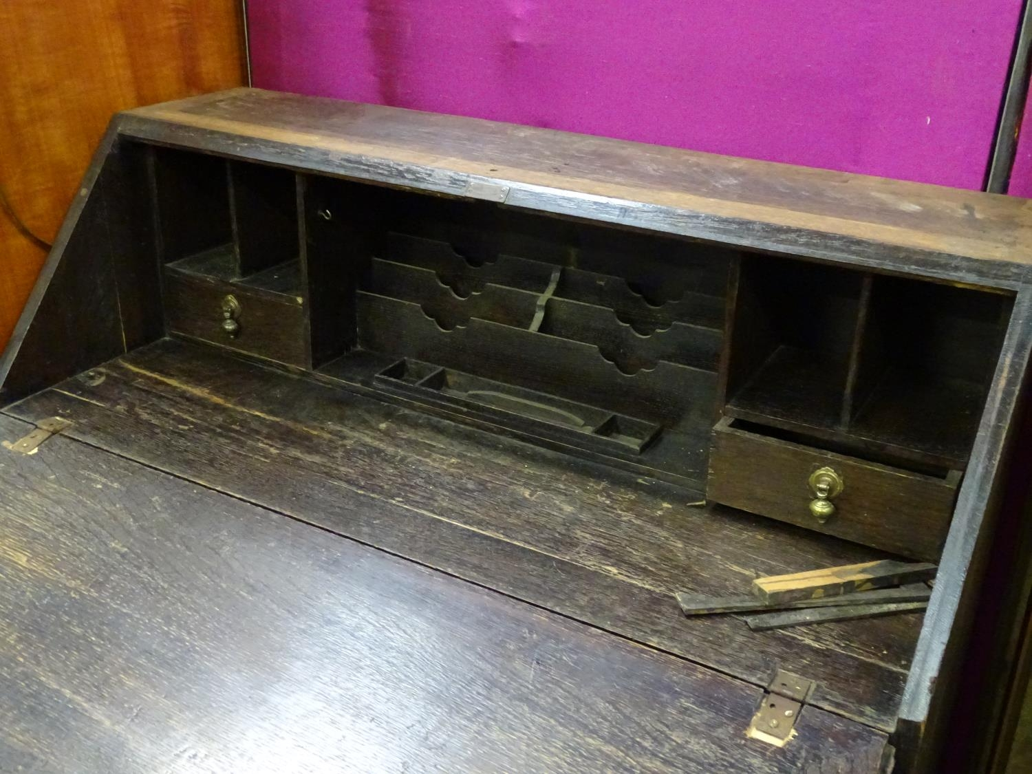 A 19thC carved oak bureau Please Note - we do not make reference to the condition of lots within - Image 4 of 4