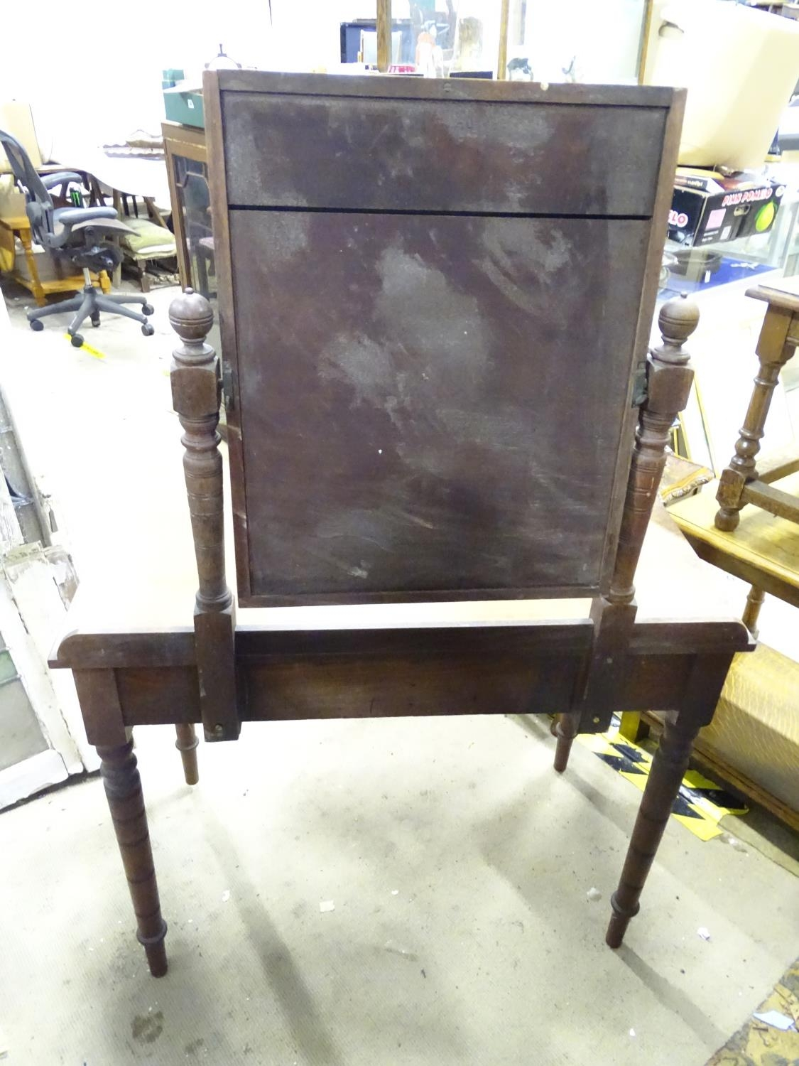 """A late 19th / early 20thC mahogany dressing table with two drawers and a mirror. Approx. 56"""" tall. - Image 6 of 7"""