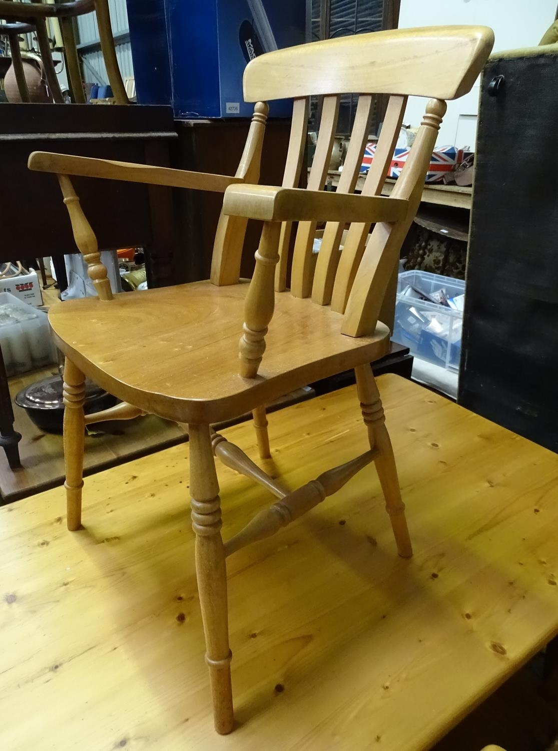 A pine dining table with 6 chairs Please Note - we do not make reference to the condition of lots - Image 2 of 5