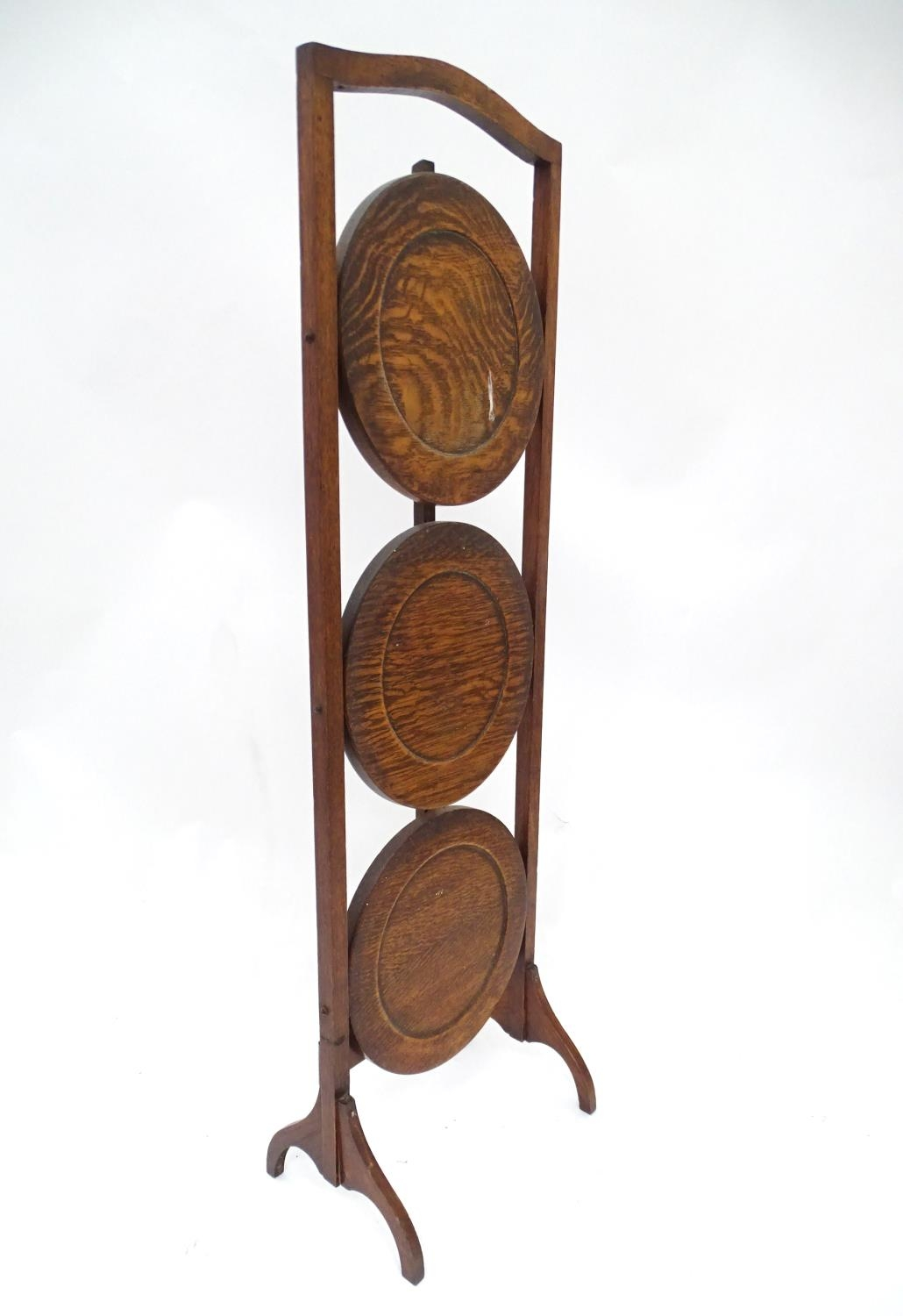 A 20thC three tier folding cake stand Please Note - we do not make reference to the condition of - Image 3 of 4