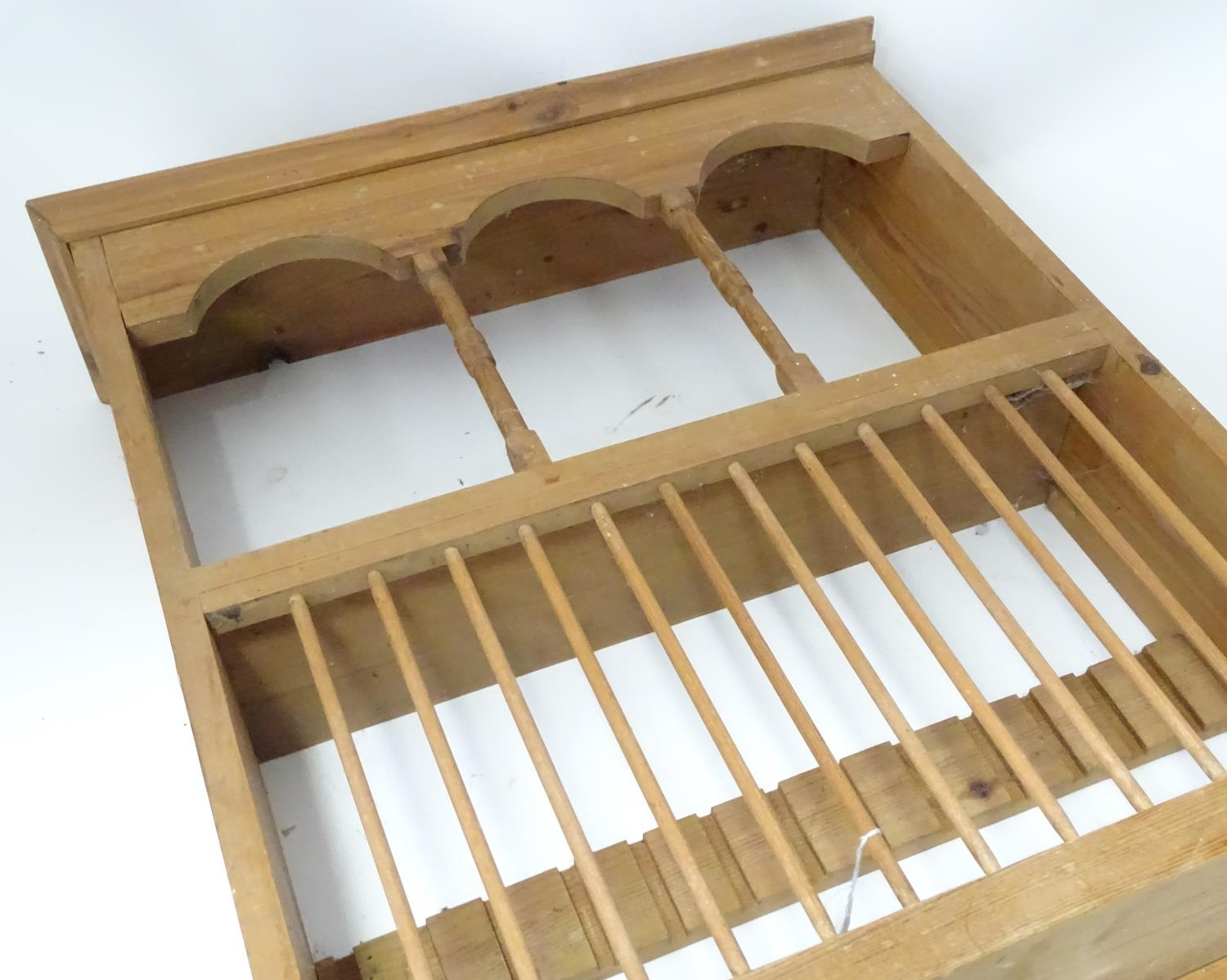 A pine plate rack together with a three tier buffet (2) Please Note - we do not make reference to - Image 6 of 9