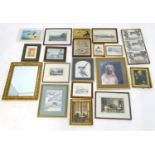 A quantity of prints, mirrors etc. to include photographs of dogs, boats, etc. Prints to include The