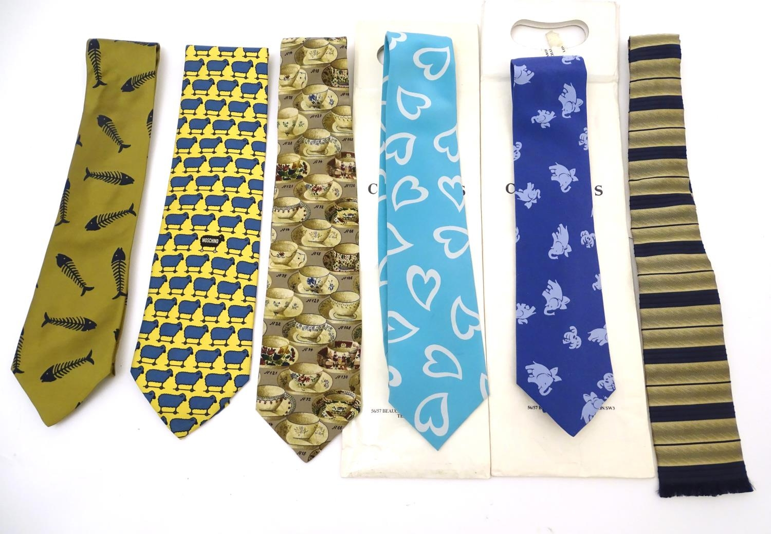 Vintage clothing/ fashion: 6 silk ties in various colours and patterns by Yves Saint Laurent, Nicole
