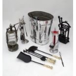 A quantity of fire tools, metal ware etc. Please Note - we do not make reference to the condition of