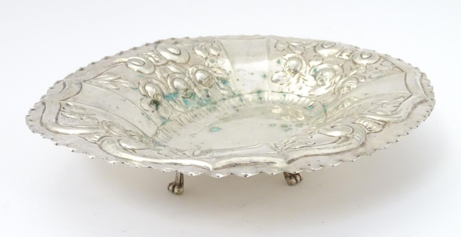 """A silver plate dish of oval form with embossed decoration. Approx. 12"""" wide. Please Note - we do not - Image 3 of 5"""
