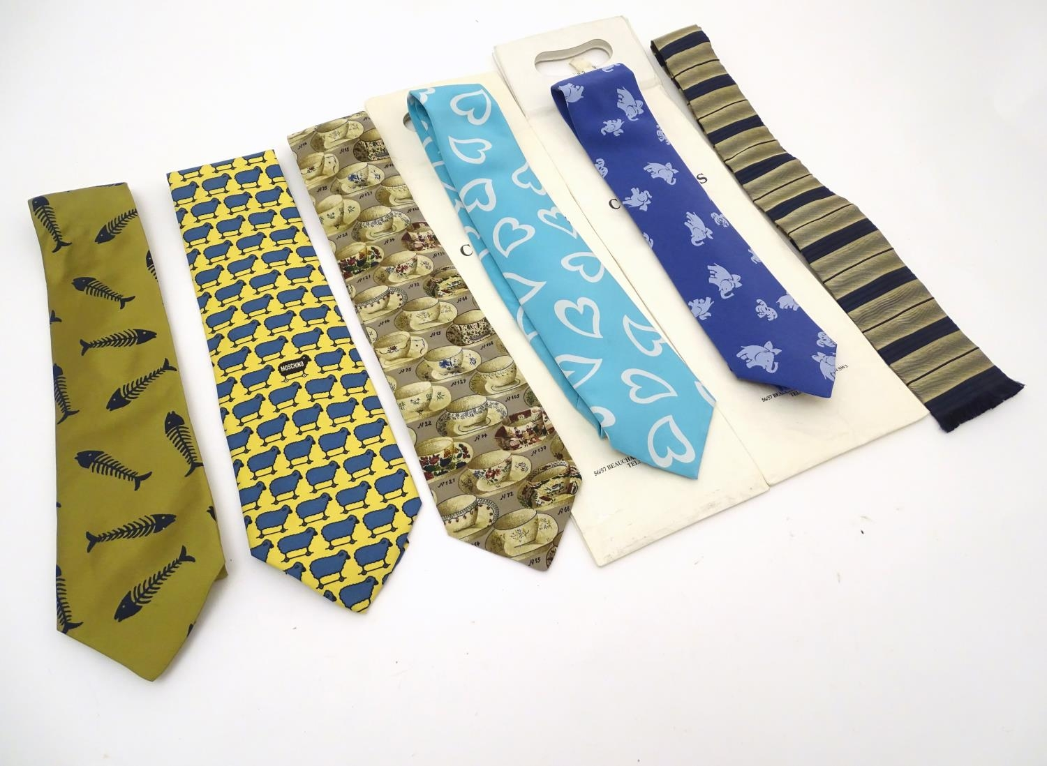 Vintage clothing/ fashion: 6 silk ties in various colours and patterns by Yves Saint Laurent, Nicole - Image 3 of 10