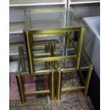 Three brass and glass coffee tables (3) Please Note - we do not make reference to the condition of