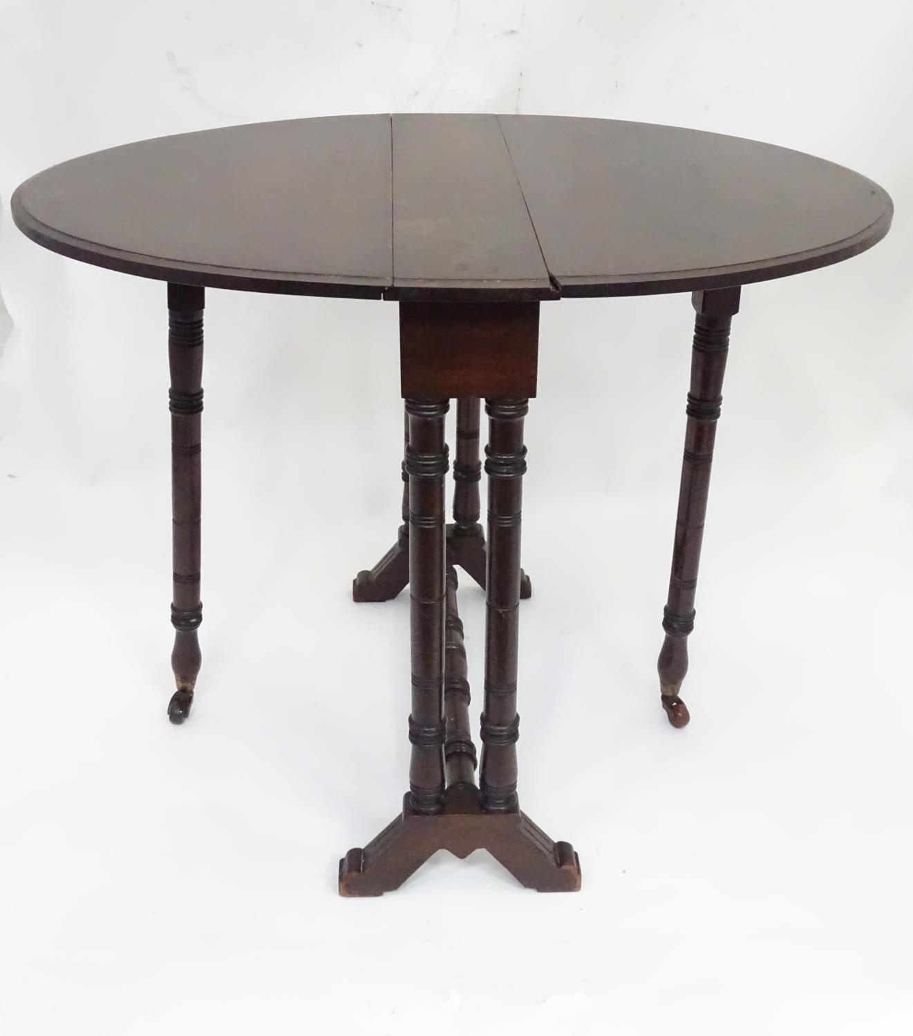 """A 19thC Sutherland table with an oval top. Approx. 29"""" wide Please Note - we do not make reference - Image 4 of 8"""