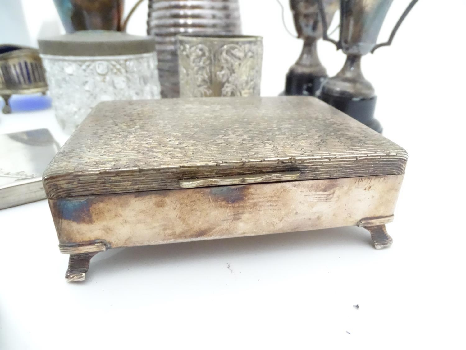 A quantity of silver plated items to include cutlery, cigarette box, trophy, coffee pot, candle - Image 5 of 6
